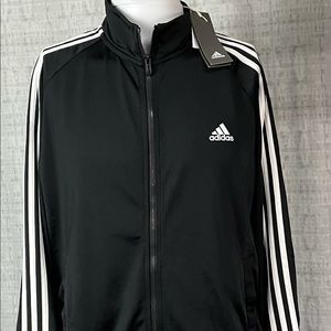 👀New Large Adidas Black White Track Jacket Coat